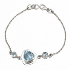 Handcrafted Triangle Round Shape Blue Topaz Gemstone 925 Sterling Silver Bracelet Jewelry
