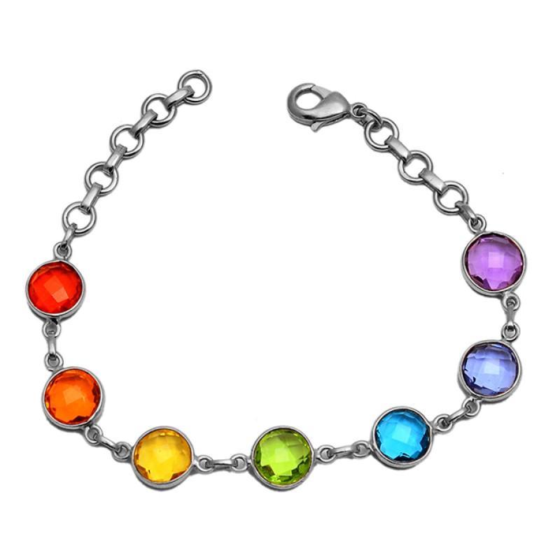 Bezel Setting Round Shape Briolette Gemstone 925 Sterling Silver Gold Plated Bracelet Jewelry