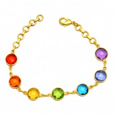 Bezel Setting Round Shape Briolette Gemstone 925 Sterling Silver Gold Plated Bracelet Jewelry