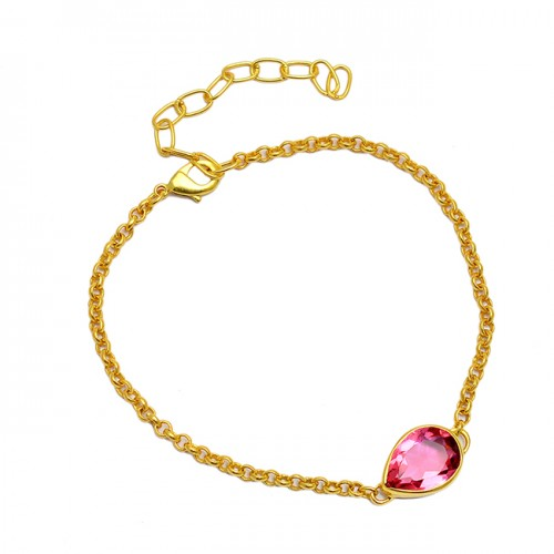 Pear Cut Pink Quartz Gemstone 925 Sterling Silver Gold Plated Bracelet Jewelry