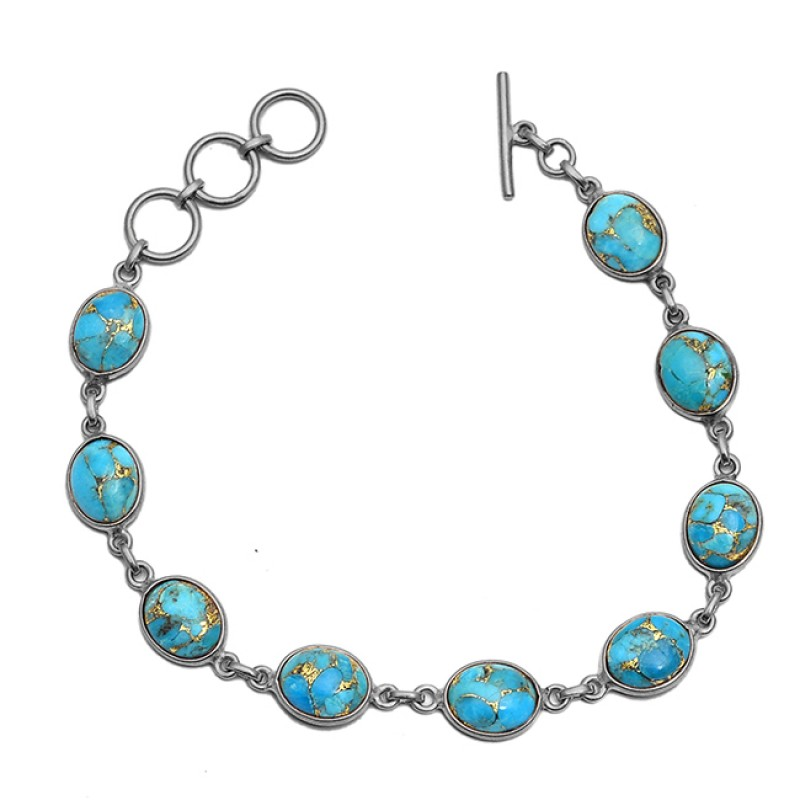 Cabochon Oval Blue Copper Turquoise Gemstone 925 Sterling Silver Gold Plated Bracelet Jewelry