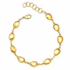 Briolette Pear Citrine Gemstone 925 Sterling Silver Bezel Setting Gold Plated Bracelet Jewelry