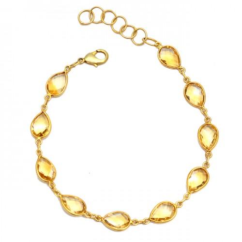 Briolette Pear Citrine Gemstone 925 Sterling Silver Bezel Setting Gold Plated Bracelet Jewelry