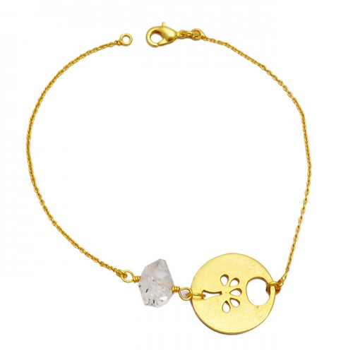 Handcrafted Herkimer Diamond Gemstone 925 Sterling Silver Gold Plated Bracelet Jewelry