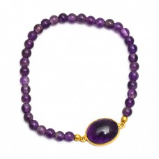 Round Balls Oval Cabochon Amethyst Gemstone 925 Sterling Silver Gold Plated Bracelet Jewelry