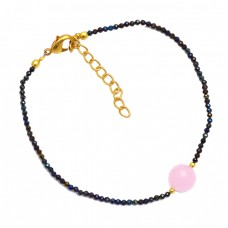 Rose Chalcedony Coated Pyrite Gemstone 925 Sterling Silver Gold Plated Bracelet Jewelry