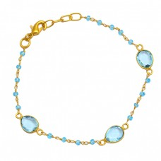 Roundel Beads Oval Blue Topaz Gemstone 925 Sterling Silver Gold Plated Bracelet Jewelry