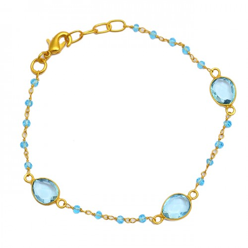 Roundel Beads Oval Blue Topaz Gemstone 925 Sterling Silver Gold Plated Bracelet Jewelry