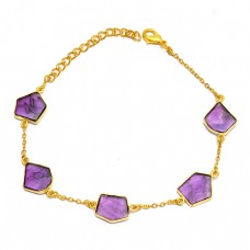Purple Amethyst Fancy Shape Gemstone 925 Sterling Silver Gold Plated Bracelet Jewelry