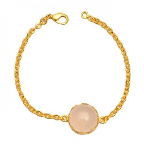 Cabochon Round Rose Quartz Gemstone 925 Sterling Silver Gold Plated Bracelet Jewelry