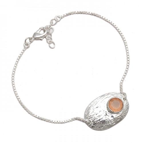 Stylish Rose Quartz Round Shape Gemstone 925 Sterling Silver Bracelet Jewelry