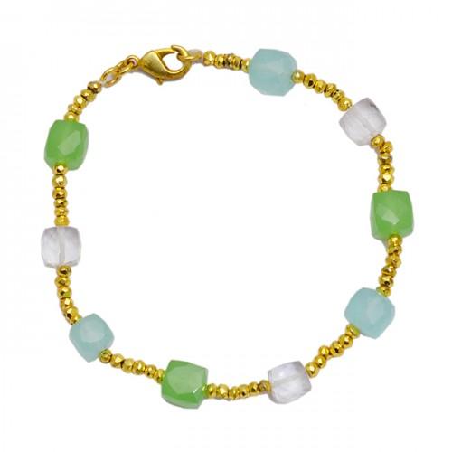 Cube Shape Prehnite Aqua Chalcedony Crystal Quatz Gemstone 925 Sterling Silver Gold Plated Bracelet Jewelry