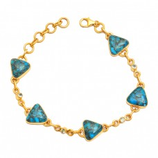 Triangle Shape Blue Copper Turquoise Gemstone 925 Sterling Silver Gold Plated Bracelet Jewelry