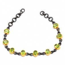 Faceted Oval Peridot Gemstone 925 Sterling Silver Black Rhodium Bracelet Jewelry