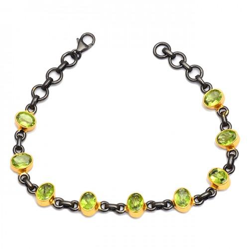 Faceted Oval Peridot Gemstone 925 Sterling Silver Black Rhodium Bracelet Jewelry