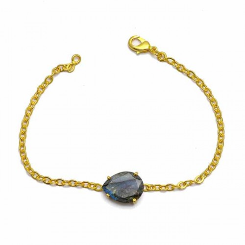 Nice Blue Fire Labradorite Gemstone 925 Sterling Silver Prong Setting Gold Plated Bracelet Jewelry