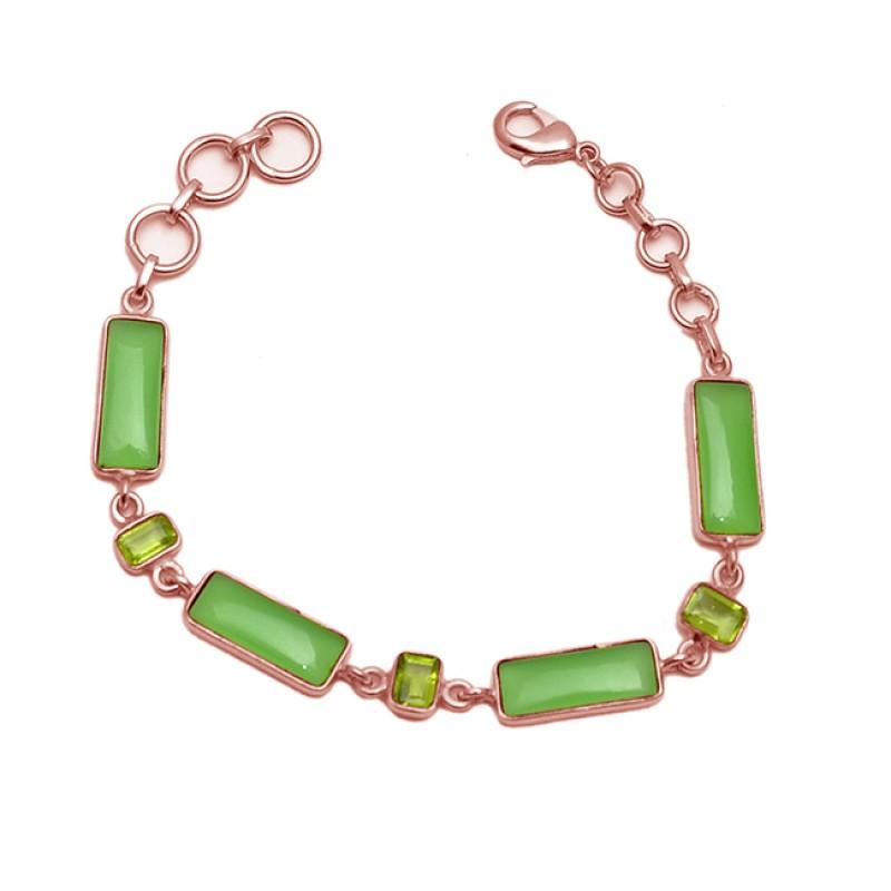 Prehnite Chalcedony Peridot Gemstone 925 Sterling Silver Gold Plated Handmade Bracelet Jewelry