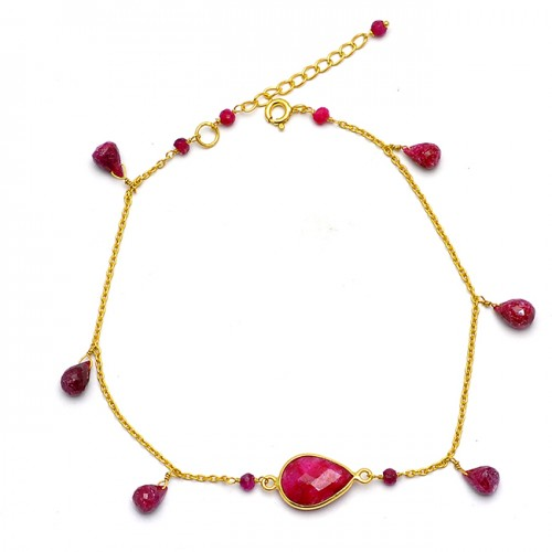 Pear Drops Roundel Beads Shape Ruby Gemstone 925 Sterling Silver Gold Plated Bracelet Jewelry