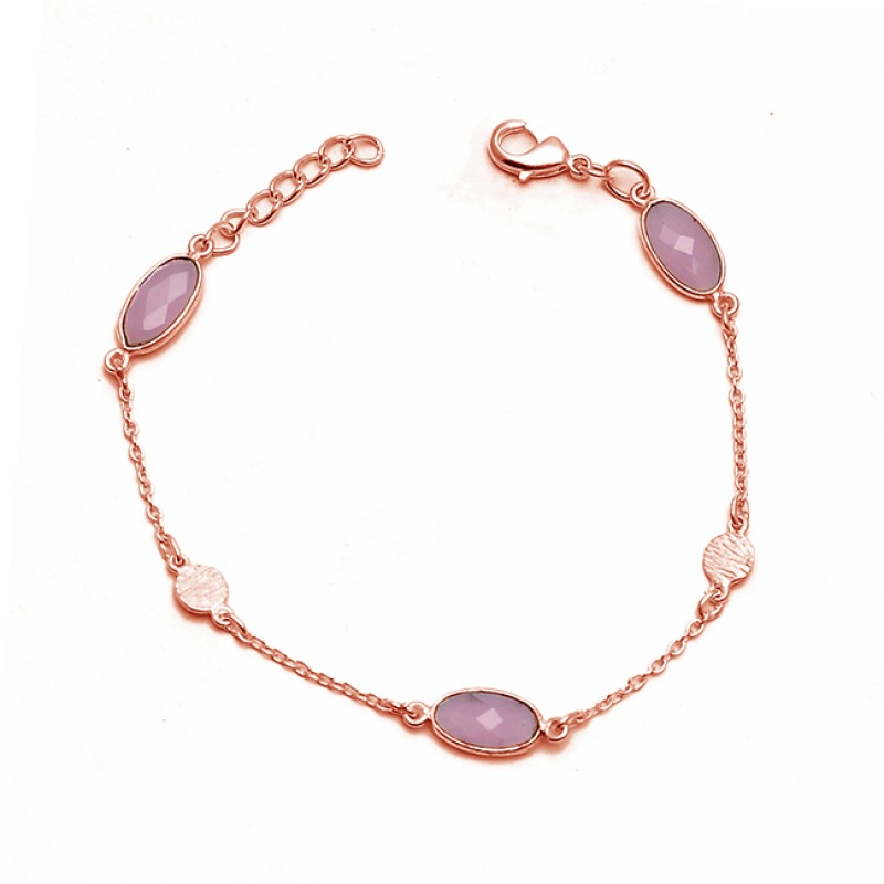 925 Sterling Silver Handcrafted Oval Briolette Rose Quartz Gemstone Bracelet Jewelry