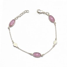 925 Sterling Silver Handcrafted Oval Briolette Rose Quartz Gemstone Bracelet Jewelry