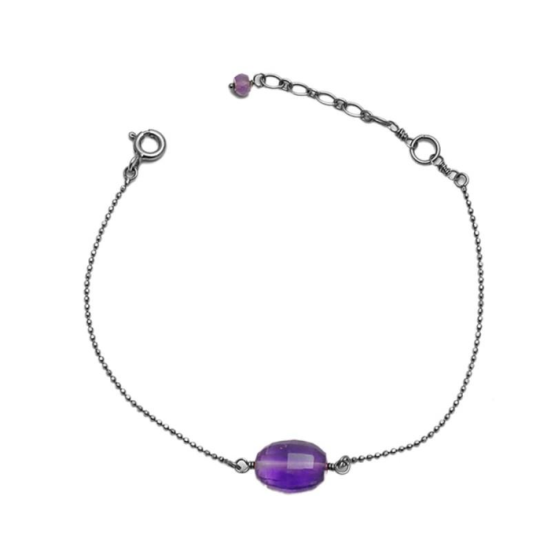 Purple Amethyst Gemstone 925 Sterling Silver Gold Plated Light Weight Bracelet Jewelry
