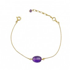Purple Amethyst Gemstone 925 Sterling Silver Gold Plated Light Weight Bracelet Jewelry