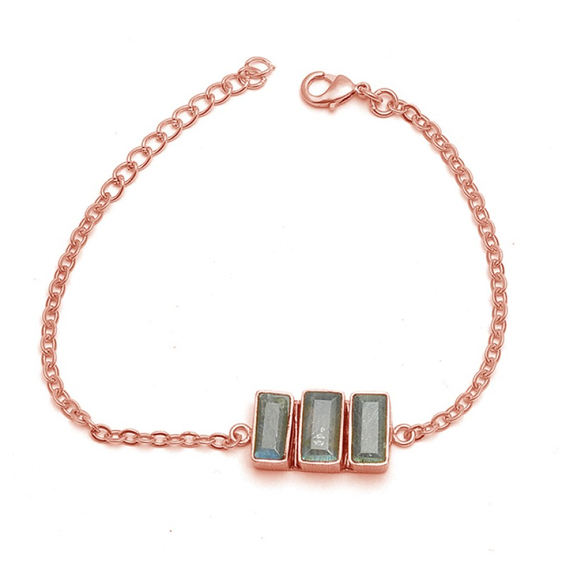 925 Sterling Silver Rectangle Shape Labradorite Gold Plated Bracelet Jewelry