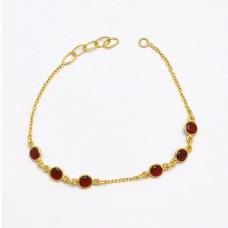 925 Sterlig Silver Garnet Round Shape Gemstone Bezel Setting Gold Plated Bracelet Jewelry