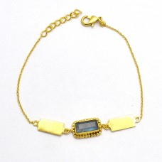 Antique Designer Rectangle Shape Labradorite Gemstone 925 Sterling Silver Gold Plated Bracelet Jewelry