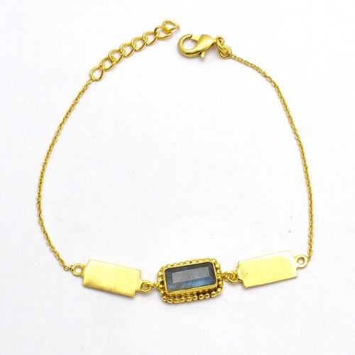 Antique Designer Rectangle Shape Labradorite Gemstone 925 Sterling Silver Gold Plated Bracelet Jewelry