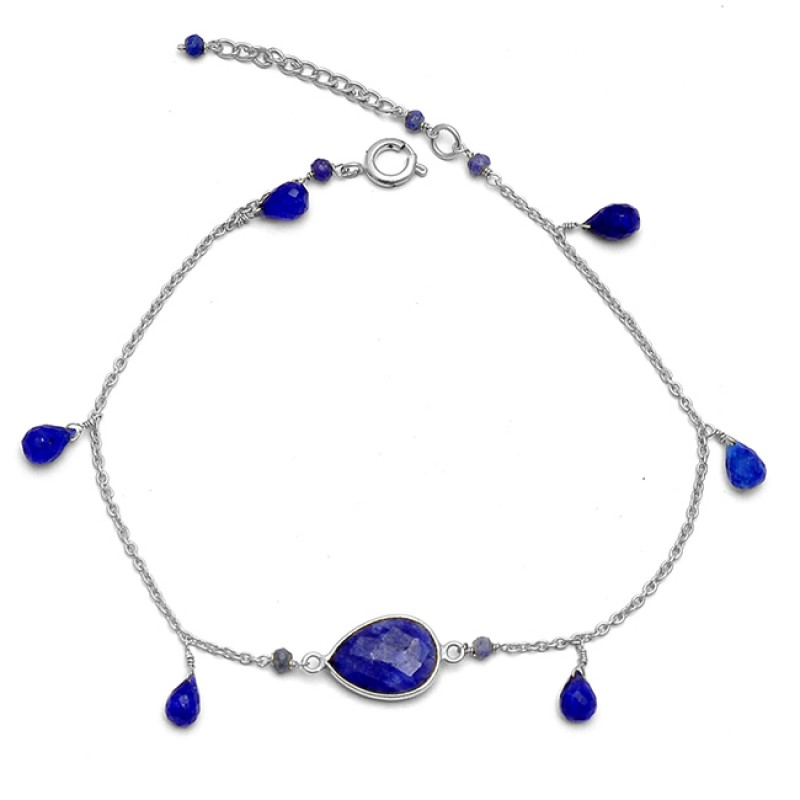 Pear Drops Roundel Beads Shape Blue Sapphire Gemstone 925 Sterling Silver Gold Plated Bracelet Jewelry