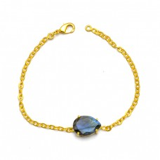 Faceted Pear Labradorite Gemstone Prong Setting 925 Sterling Silver Gold Plated Bracelet Jewelry