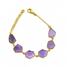 Fancy Shape Slice Amethyst Gemstone 925 Sterling Silver Gold Plated Bracelet Jewelry