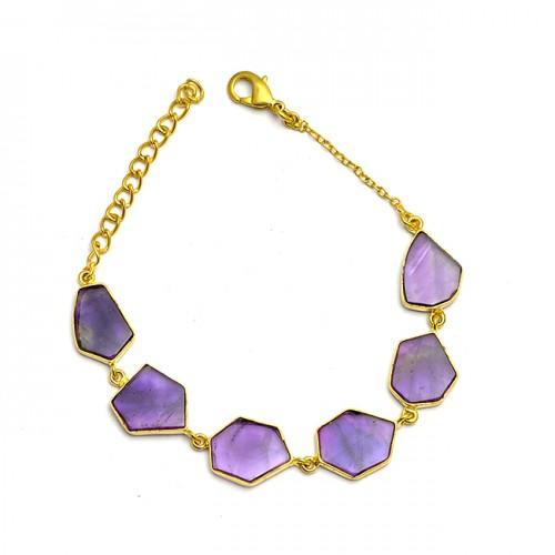 Fancy Shape Slice Amethyst Gemstone 925 Sterling Silver Gold Plated Bracelet Jewelry