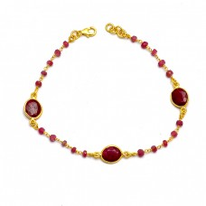 925 Sterling Silver Oval Roundel Beads Shape Garnet Gemstone Gold Plated Bracelet Jewelry