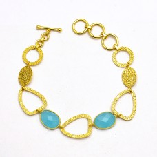 Stylish Designer Aqua Chalcedony Gemstone 925 Sterling Silver Gold Plated Bracelet Jewelry