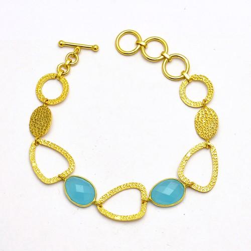 Stylish Designer Aqua Chalcedony Gemstone 925 Sterling Silver Gold Plated Bracelet Jewelry