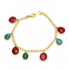 Oval Shape Ruby Emerald Gemstone 925 Sterling Silver Gold Plated Bracelet Jewelry
