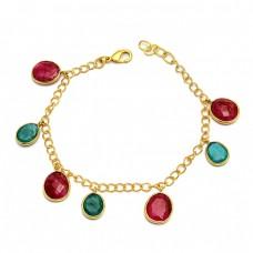 Oval Shape Ruby Emerald Gemstone 925 Sterling Silver Gold Plated Bracelet Jewelry