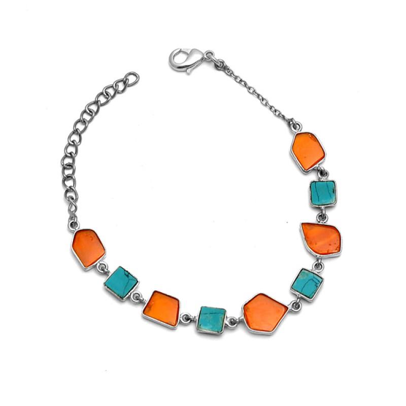 Fancy Shape Slice Turquoise Carnelian Gemstone 925 Sterling Silver Gold Plated Bracelet Jewelry