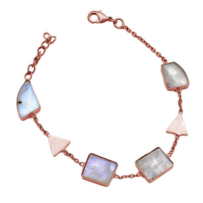 Fancy Shape Slice Rainbow Moonstone Gemstone 925 Sterling Silver Gold Plated Bracelet Jewelry