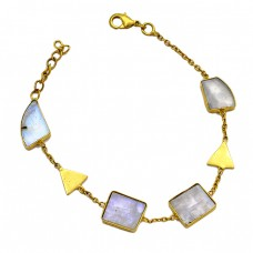 Fancy Shape Slice Rainbow Moonstone Gemstone 925 Sterling Silver Gold Plated Bracelet Jewelry