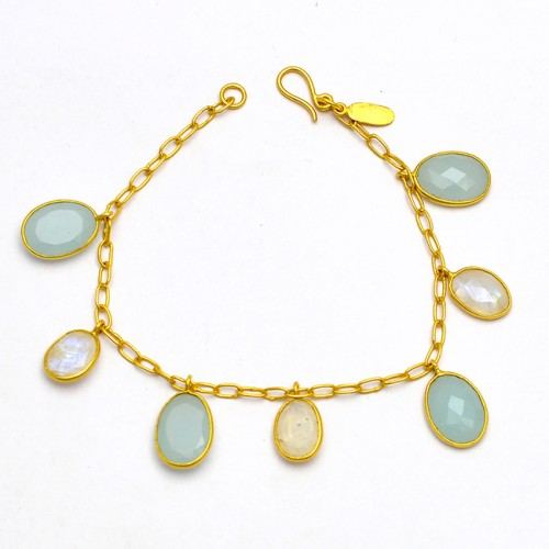 Oval Shape Chalcedony Rainbow Gemstone 925 Sterling Silver Gold Plated Bracelet Jewelry