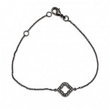 Handmade Pave Cubic Zirconia Gemstone 925 Sterling Silver Black Rhodium Bracelet Jewelry
