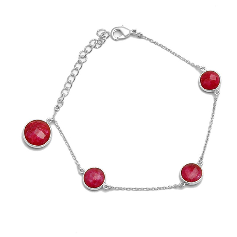 Round Briolette Ruby Gemstone 925 Sterling Silver Gold Plated Bezel Setting Bracelet Jewelry