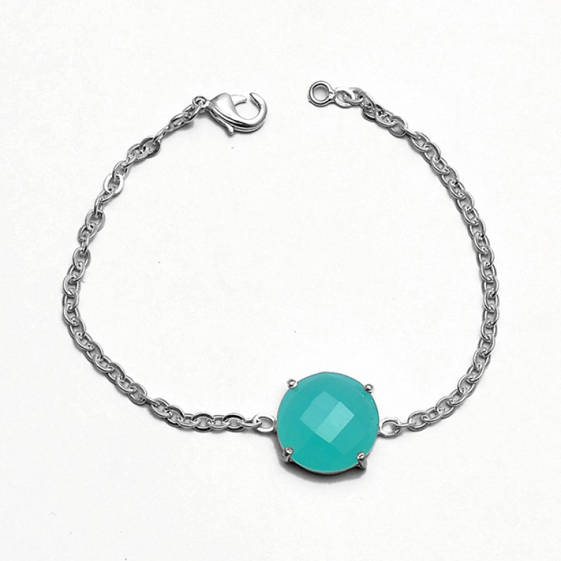 Aqua Chalcedony Round Shape Gemstone 925 Sterling Silver Prong Setting Bracelet Jewelry