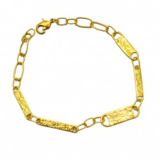 Hammered Finished Plain Designer Bracelet 925 Sterling Silver Gold Plated Jewelry