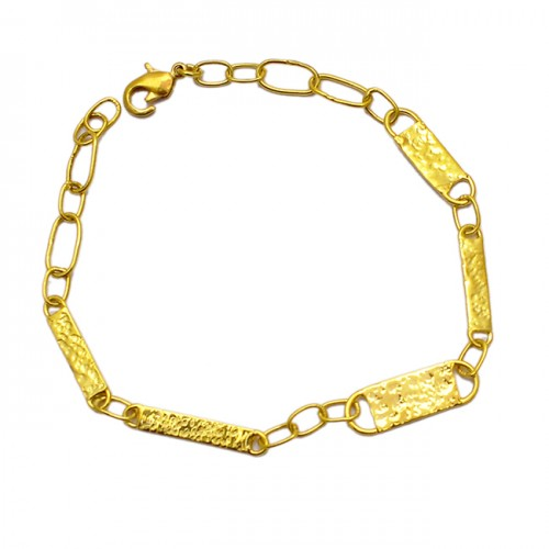 Hammered Finished Plain Designer Bracelet 925 Sterling Silver Gold Plated Jewelry