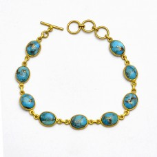 Bezel Setting Turquoise Oval Cabochon Gemstone 925 Sterling Silver Gold Plated Bracelet Jewelry