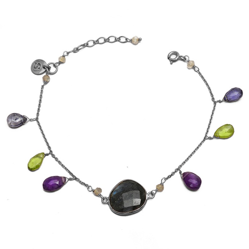 Round Pear Drops Labradorite Peridot Amethyst Gemstone 925 Sterling Silver Gold Plated Bracelet Jewelry